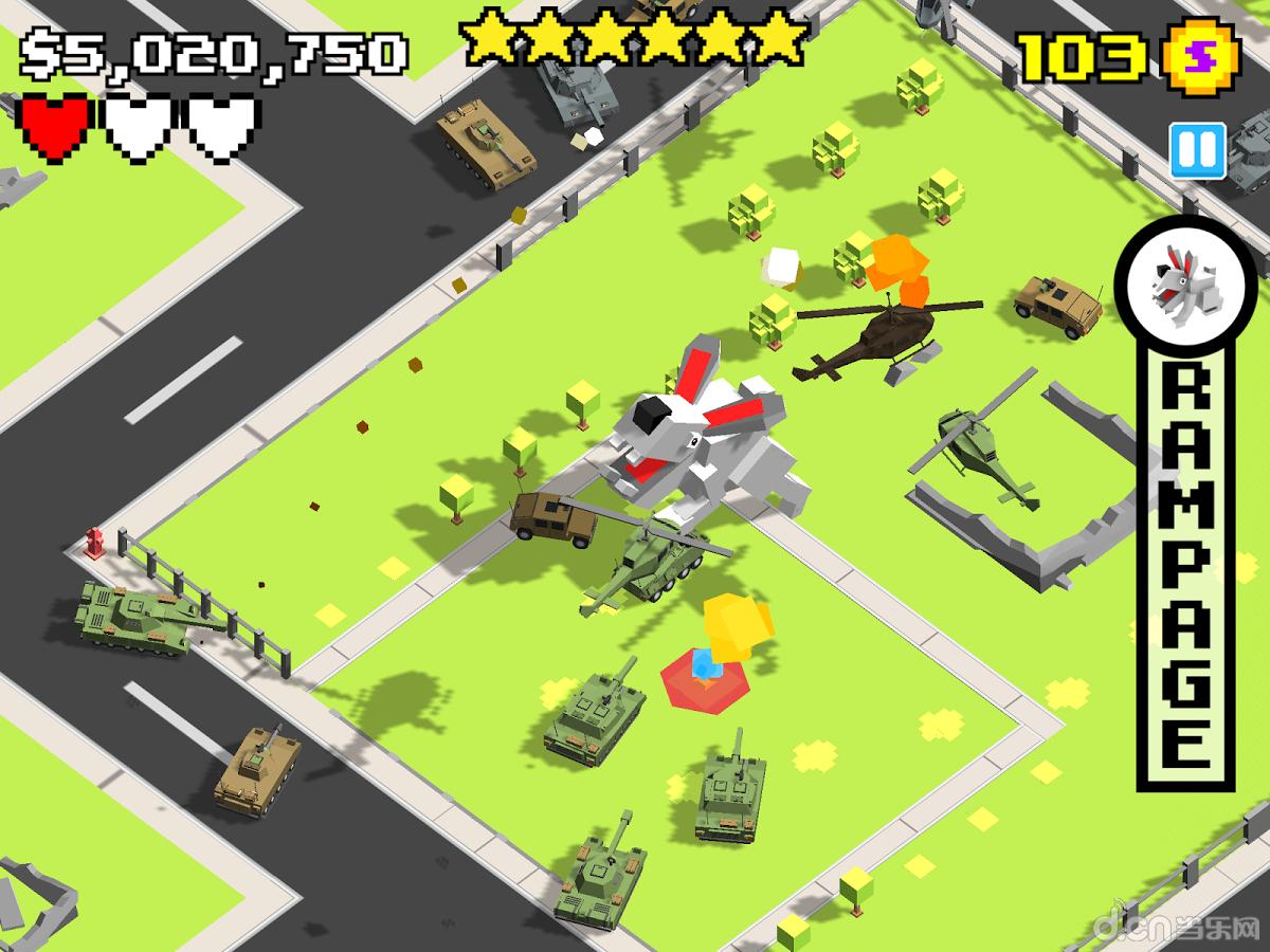 玩家需要操作身体巨大的各种动物形态的怪兽去摧毁城市,在军队的追杀